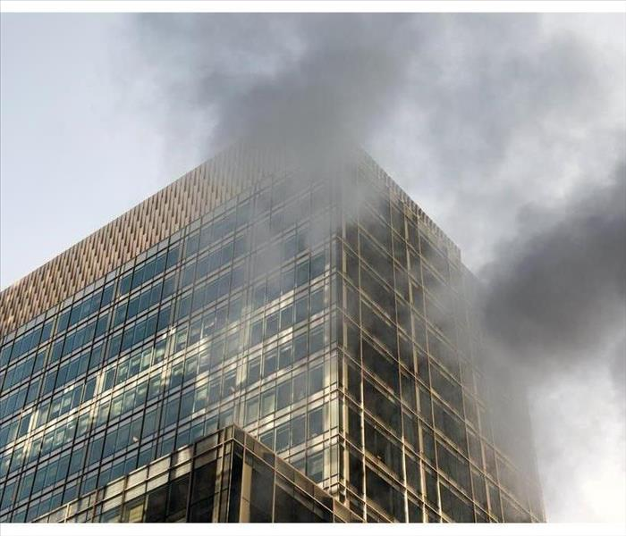 Smoke on the glass modern building